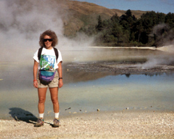 Carolyn at hydrothermal area, Rotorua, New Zealand